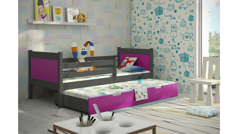 JUSTyou Leon Cama Nido Doble Juvenil 2 Camas (LxBxH): 190x85x75 cm Gris Grafito Rosa: Amazon.es: Hogar