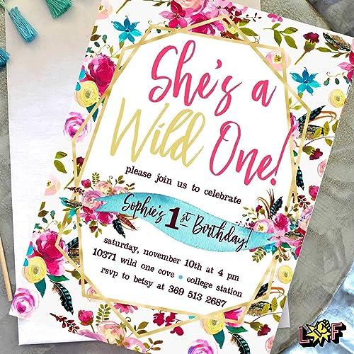 amazon com wild one birthday invitations girl 1st birthday