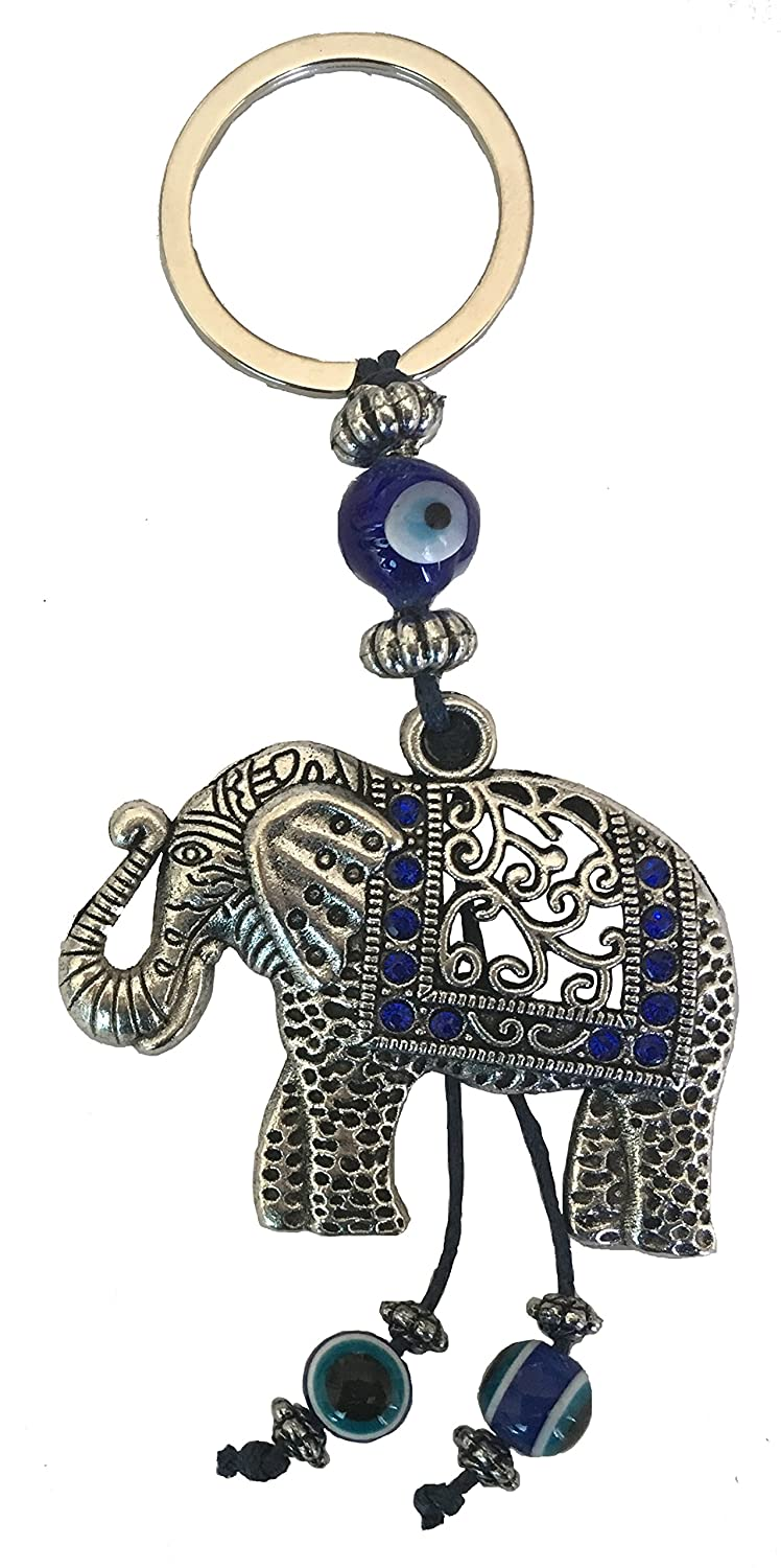 Bravo Team Blue Evil Eye Keychain Ring for Protection and Blessing, Elephant Charm for Strength and Power, Great Gift none