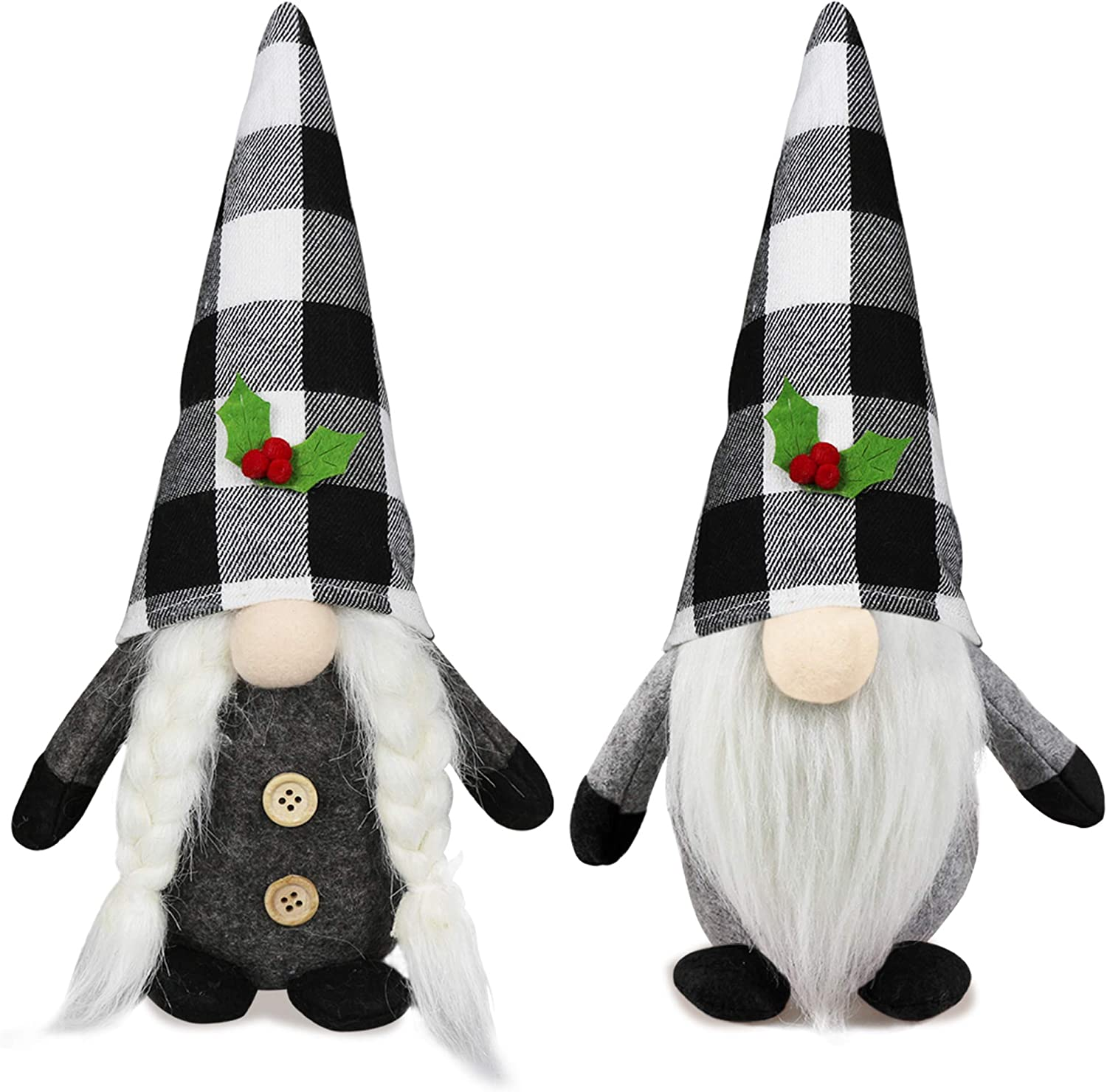 2Pcs Christmas Gnomes Plush Set- Christmas Decorations - Mr and Mrs Handmade Swedish Tomte Santa Decor - Christmas Holiday Elf Gnomes Decor Ornaments- Xmas Holiday Home Decor 11Inch