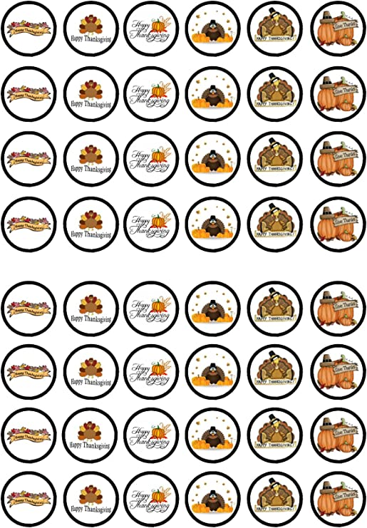 48 Thank You Edible PREMIUM THICKNESS SWEETENED VANILLA Wafer Rice Paper Cupcake Toppers//Decorations