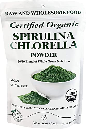 Chlorella Spirulina Powder, Organic, Non-GMO, Cracked Cell Wall, Alkalizing, High Protein, Vegan by Cherie Sweet Heart 16 oz