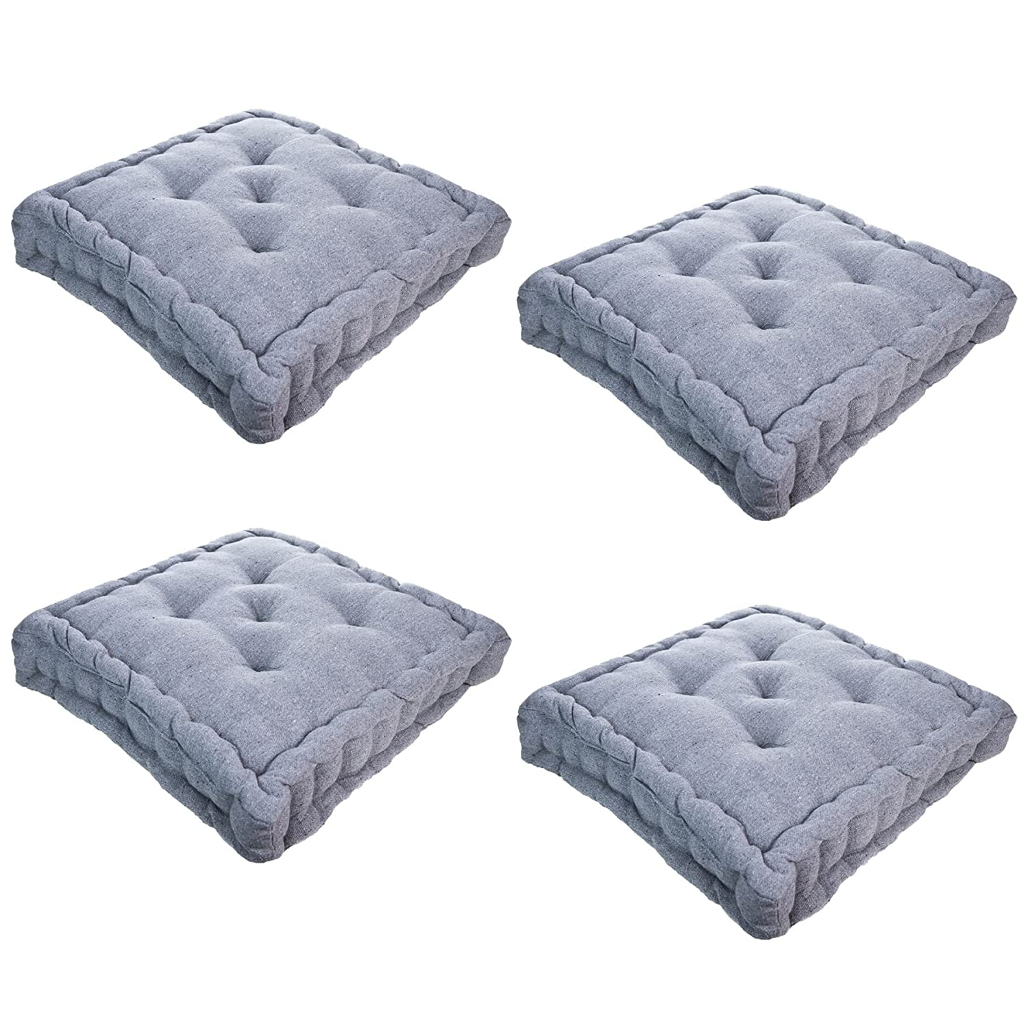 Nicola Spring Dining Chair Cushion Seat Pad Square Padded French Mattress Grey Pack Of 4