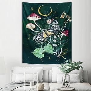 Mushroom Aesthetic Tapestry Butterfly Flower Vertical Wall Tapestry Moon Stars Floral Astrology Tapestry Wall Hanging for Living Room Dorm Bedroom Decor Dark Green Black 50x60in