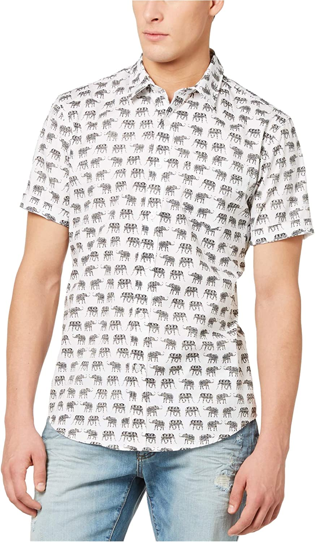American Rag Mens Walking Elephants Button Up Shirt