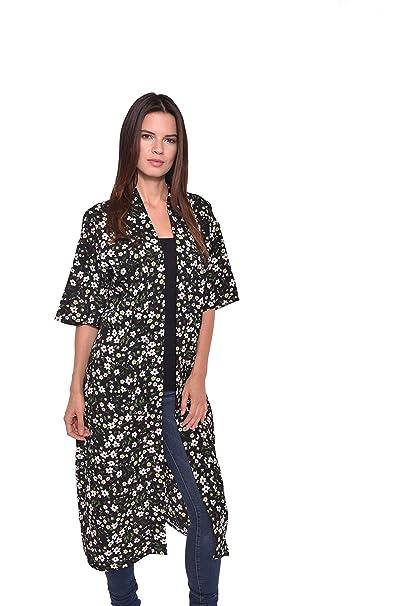 04257a897 Lulla Collection Women's Kimono 100% Viscose Super Soft Fabric (Black  Floral Print ...