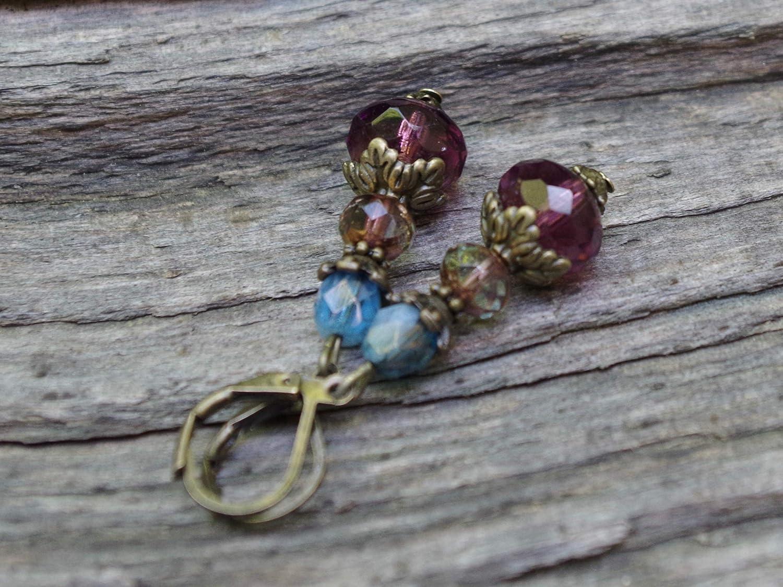 aubergine lila Vintage Ohrringe mit b/öhmischen Glasperlen petrolblau /& bronze aqua blau