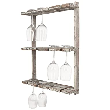 MyGift Distressed Barnwood Brown Wall Mounted 12 Wine Glass Holder Rack, Inverted Stemware Display