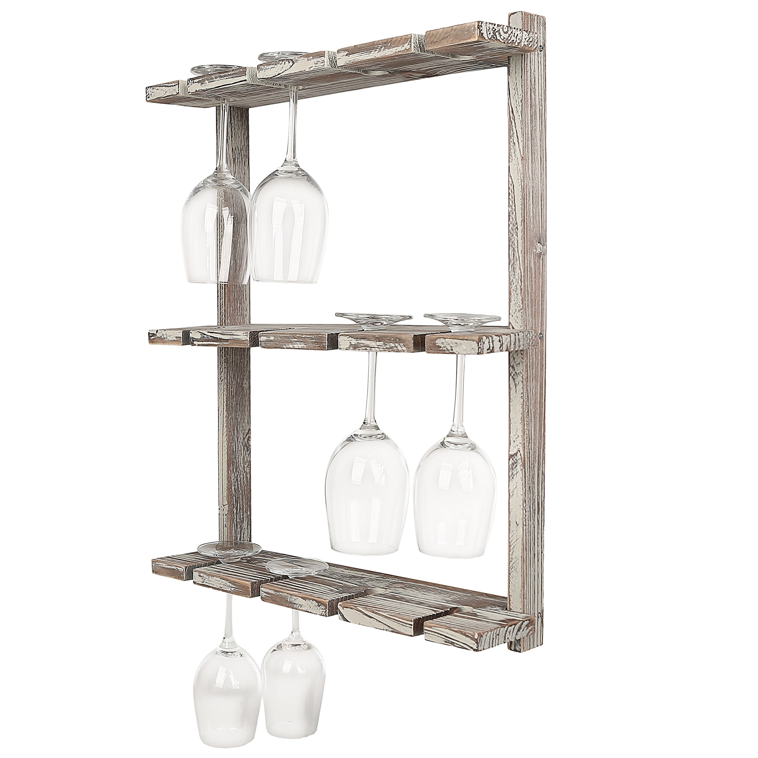 Distressed Barnwood Brown Wall Mounted 12 Wine Glass Holder Rack, Inverted Stemware Display by MyGift