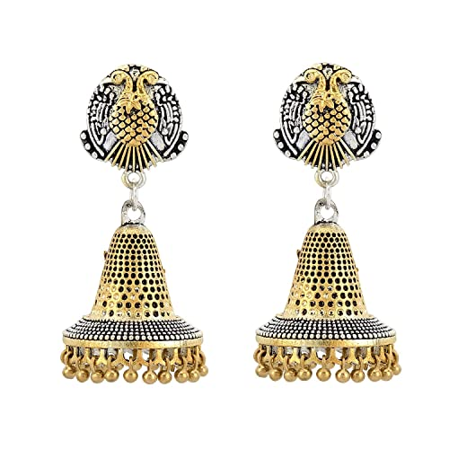 ed49be8dc Stylepotion South Indian Festive Two Tone Antique Gold Plated and Oxidized  German Silver Finish Ethnic Jhumki