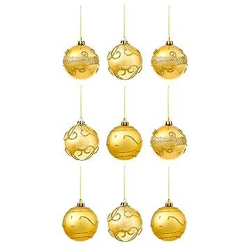 9er Set Christbaumkugeln In Gold Im Glitzer Glanzend Design