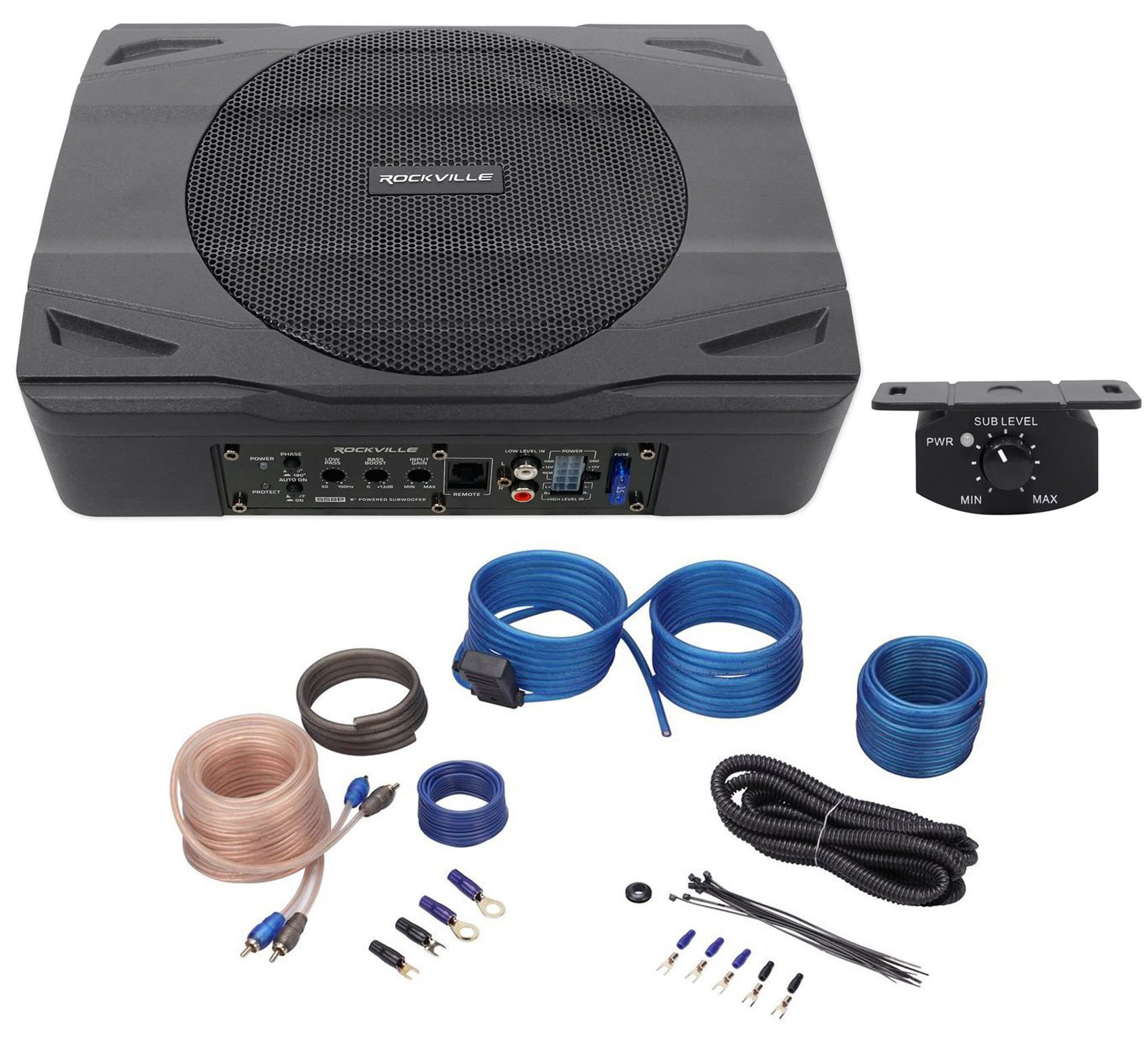 Rockville SS8P 400 Watt Slim Under-Seat Powered Car/Truck Subwoofer Sub+Amp Kit by Rockville