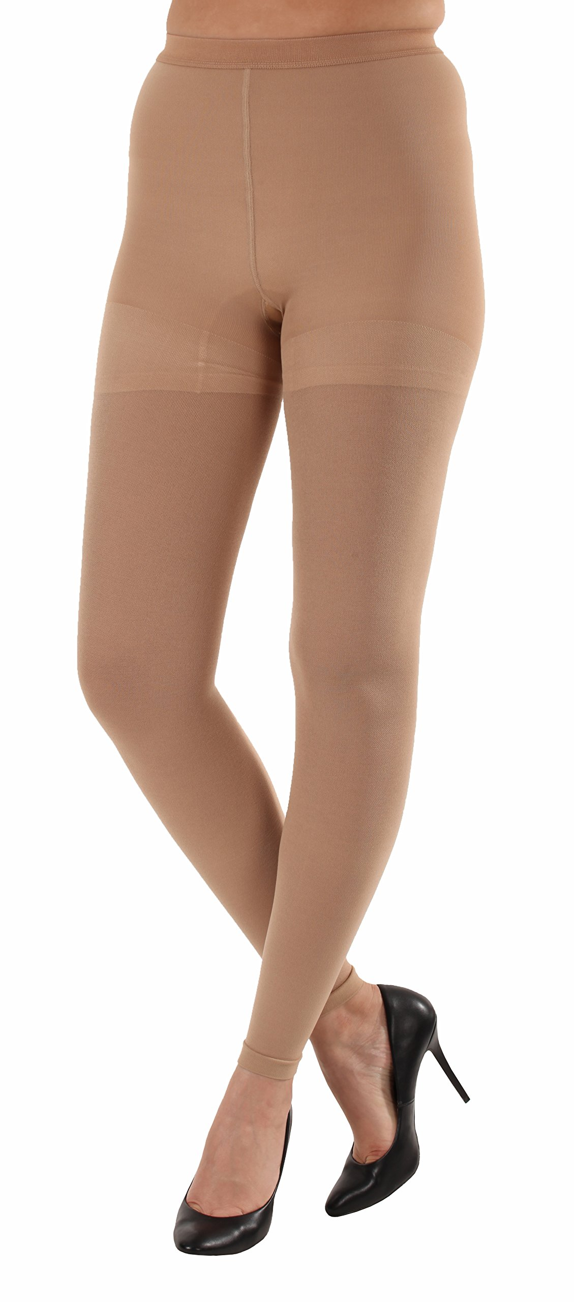 Graduated Women's Compression Stockings Leggings with Control Top - Firm Graduated Support 20-30mmHg, Color Beige, Size Small, Absolute Support SKU: A717BE1