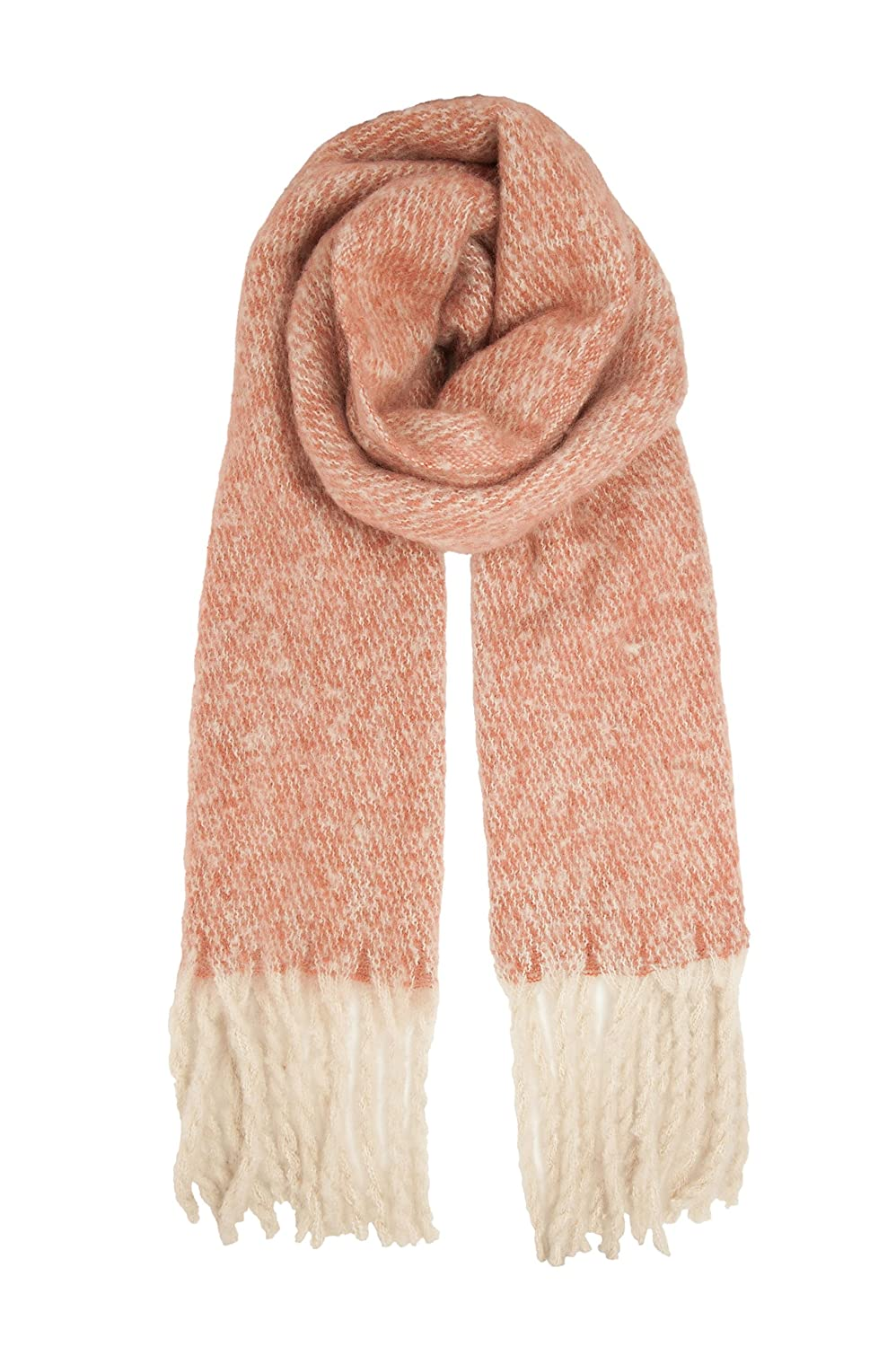 Blush and White Colour Herringbone Mohair Look Fringed Scarf