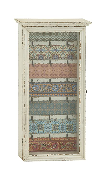 Deco 79 18180 Wood Glass Key Cabinet, 14u0026quot; ...