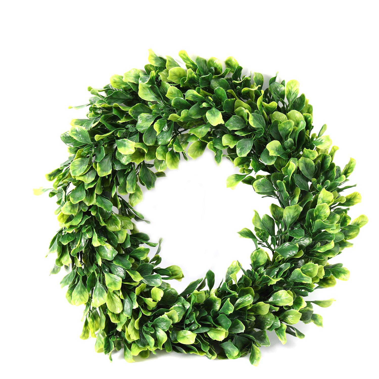 Azoco 17'' Artificial Boxwood Wreath, Faux Green Leaves Wreath Round Farmhouse Greenery Garland for Home Front Door Hanging Wall Window Wedding Party Summer Decor, Indoor/Outdoor Use by Azoco