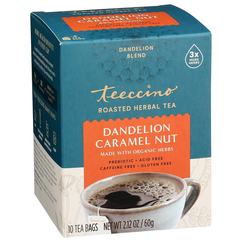 teeccino tea, dandelion root tea, coffee alternatives for pcos, dandelion caramel nut tea, caffeine alternatives,