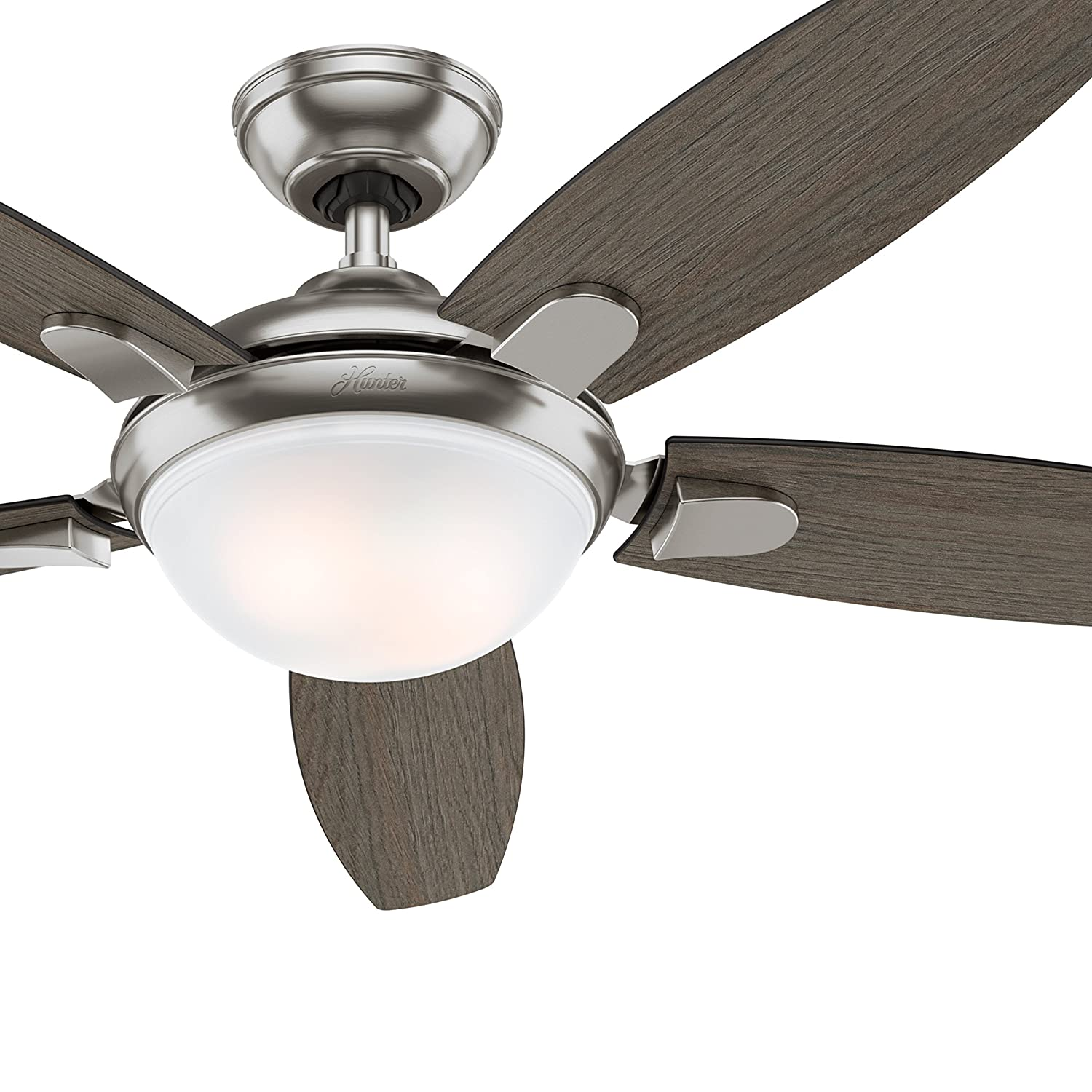 Hunter Fan 54 inch Contemporary Ceiling Fan in Brushed Nickel with LED Light and Remote Renewed Brushed Nickel