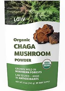 Organic Chaga Mushroom Powder, Wild-Harvested from Pristine Nordic Forests, Raw, High in Antioxidants, 5 oz, 39-Day Supply, USDA and EU Certified Organic