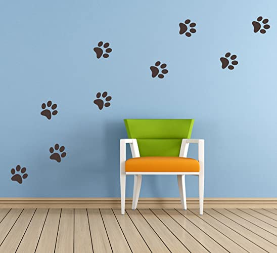 20 x paw print shaped vinyl stickers decal mural bedroom nursery