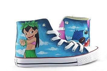 hand painted shoes Lilo and Sitch Converse All Star - Zapatillas de lona pintadas a mano para hombre y mujer, ideales para regalar: Amazon.es: Hogar