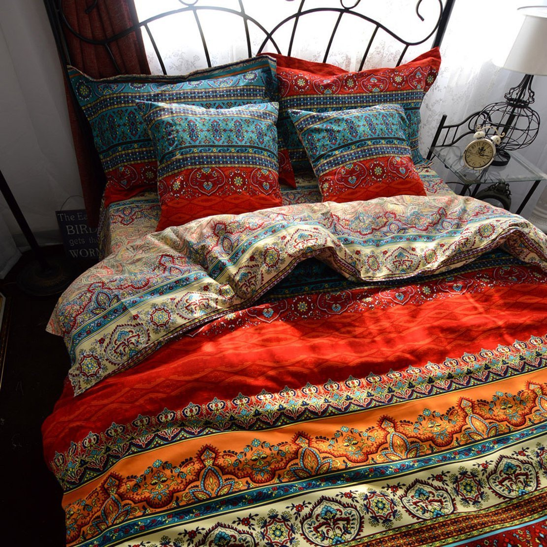 LELVA Boho Style Duvet Cover Set, Colorful Stripe Sheet Sets, Bohemia Bedding Set Baroque Style Bedding Set 4pcs Queen King Size (Fitted Sheet, Full) by LELVA (Image #1)
