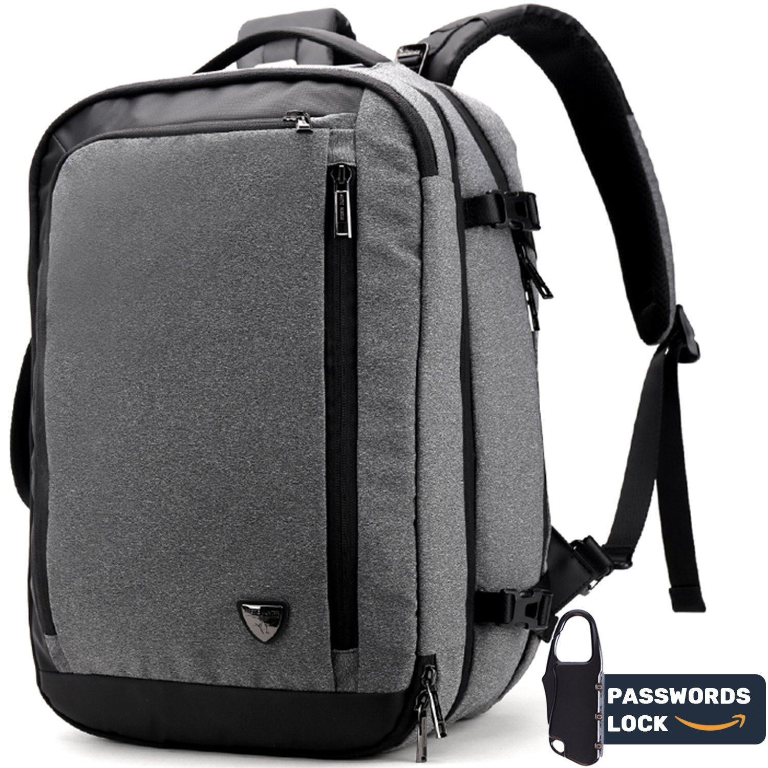Travel Laptop Backpack for Men Women, College Student Backpack 2 in 1 Multi-wear Innovative Anti-theft Water Resistant Backpack for Work Business School Travel fits for 15.6 Laptop Grey