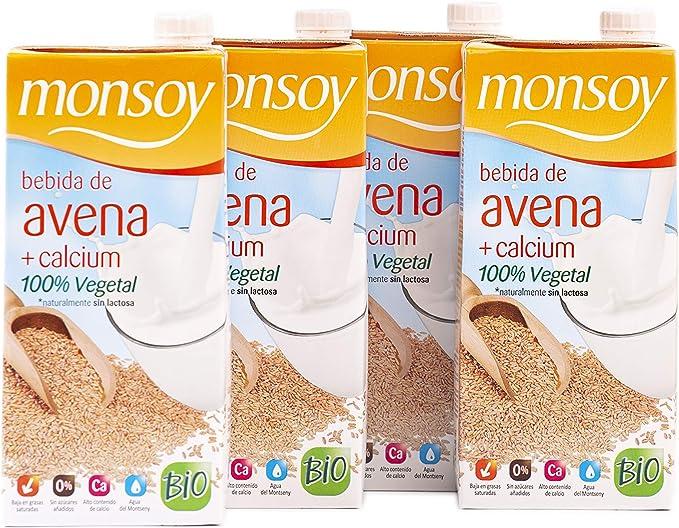 Monsoy - Bebida Ecológica de Avena con Calcio - Caja de 4 x 1L ...