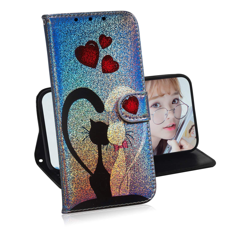 Glitzer Brieftasche Hülle Für Huawei Y6 2018Miagon Änderung Farbe Tier Gemalt PU Leder Faltbare Flip Case Mit Kartenhalter StandfunktionKatze Paar
