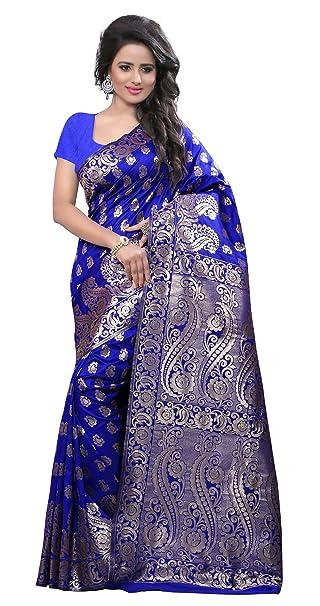 India Étnicas Zari De Trabajo Sari Saris Mujeres De La Manera Con La Blusa Unstitched