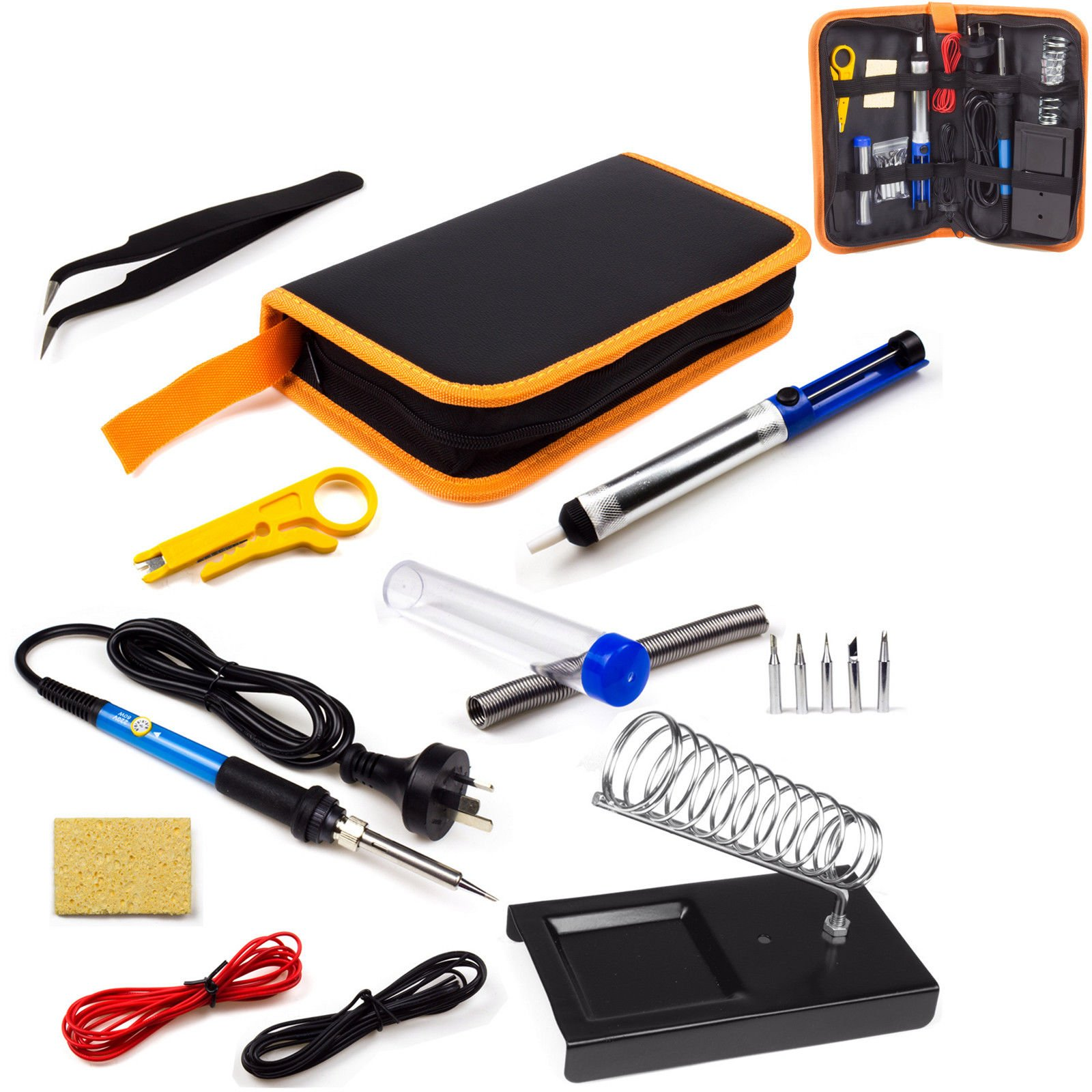 Ziss Electric Soldering Iron Kit with On/Off Switch 60W 110V Adjustable Temperature 10 in 1 Welding Suit