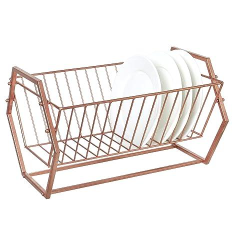 Metal Dish Drying Rack.Amazon Com Mygift Hexagonal Design Copper Tone Metal