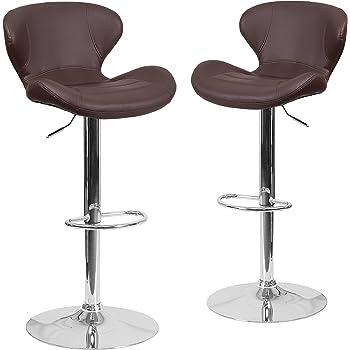 Amazon Com Flash Furniture 2 Pk Contemporary Brown Vinyl