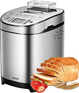 Bread Maker, [2020 Upgraded] 2LB Stainless Steel Bread Machine with Gluten-Free Setting, AICOOK 13-in-1 Programmable Bread Maker Machine with Fruit Nut Dispenser, Nonstick Pan, 3 Crust Colors & Keep Warm Set