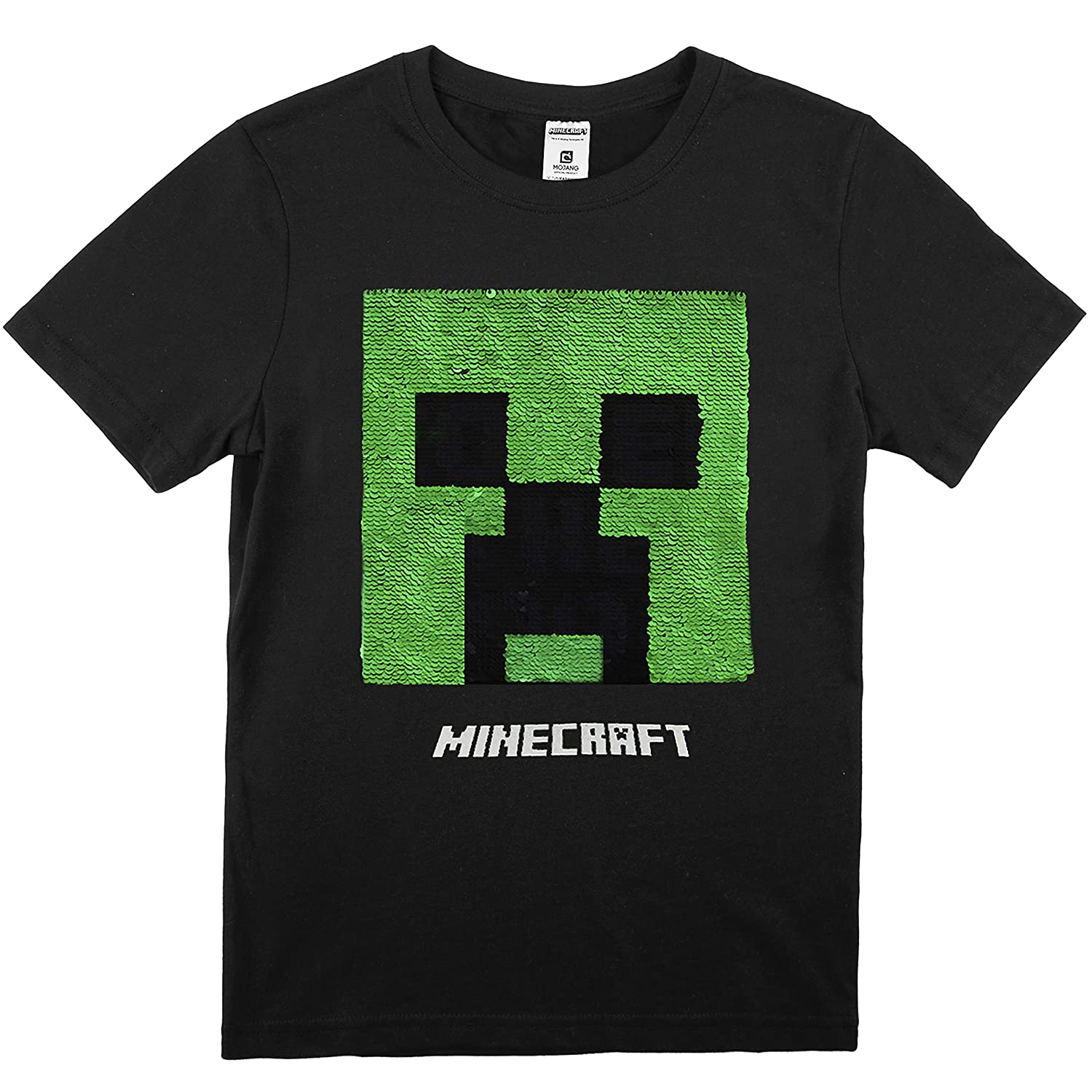 Gifts for Boys Age 5 to 14 Minecraft T Shirt for Boys Short Sleeve Black T-Shirt with Reversible Sequin Creeper Fun Graphic Tee Official Clothes for Kids and Teenagers