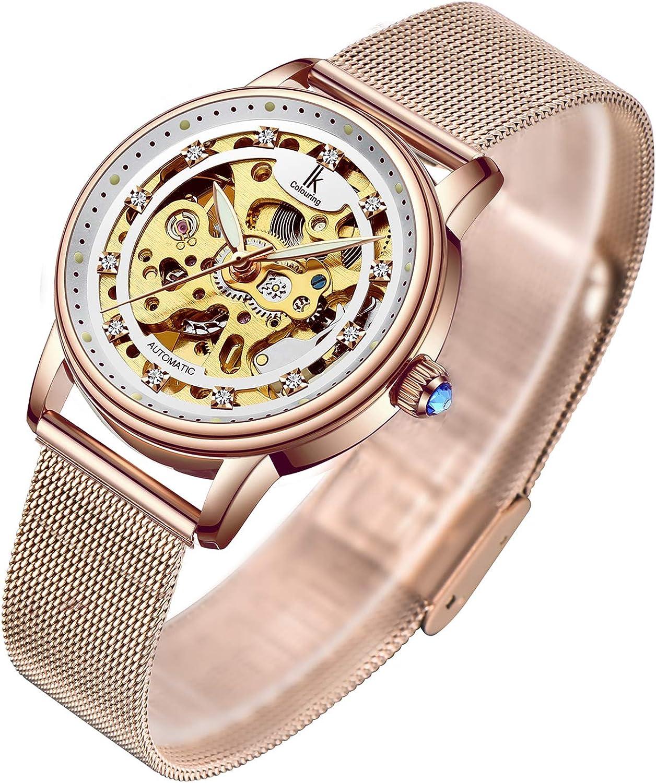 Amazon.com: Women's Watch Luxury Mechanical Stainless Steel Skeleton  Steampunk Automatic Self Winding Mesh Band Wristwatch: Watches