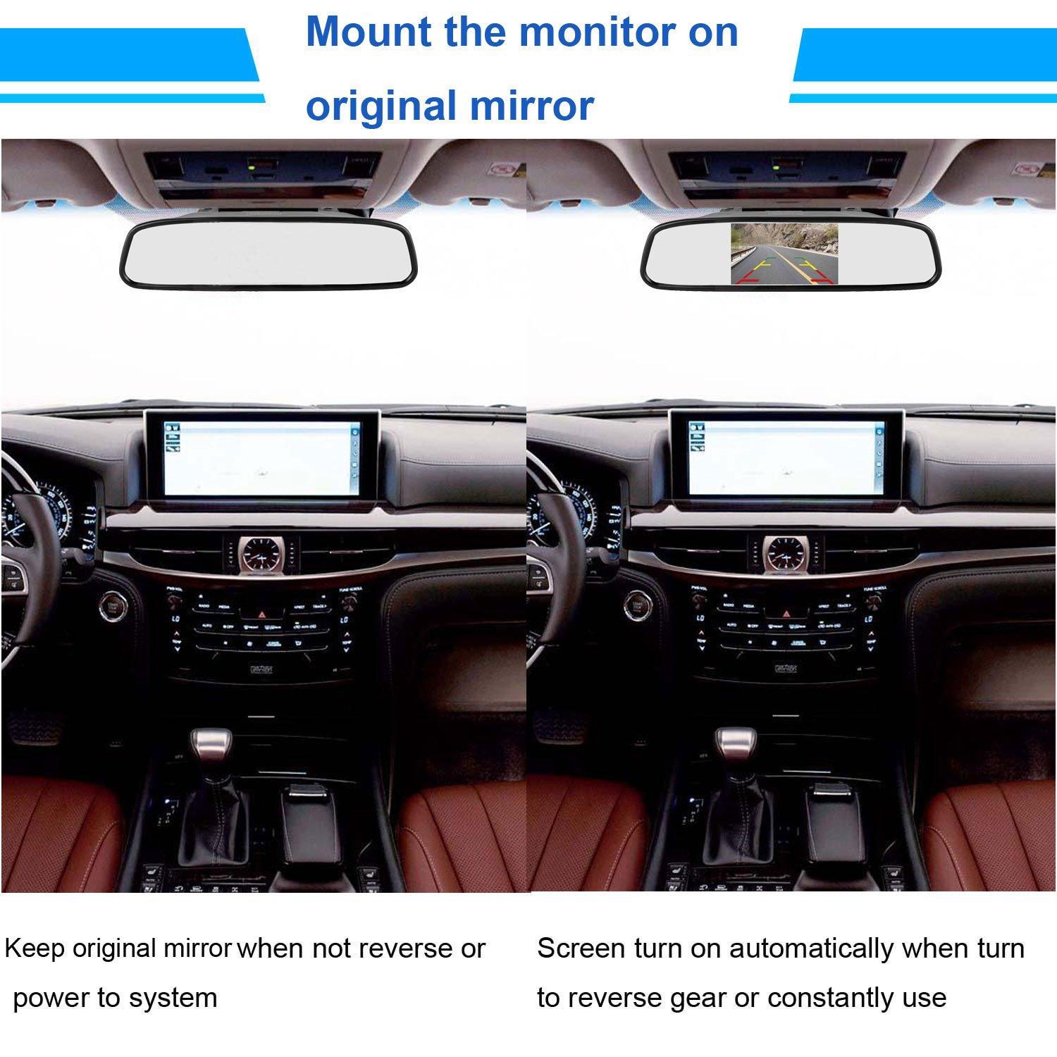 Leekooluu Backup Camera And 43 Mirror Monitor Kit For Wiring F150 Car Suv Rv Van Truck Single Power Rear View System Driving Reversing Use Ip68