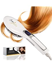 FemJolie Hair Straightening Brush Best Ionic Straightener (w/Velvet Pouch & Free Glove) 40W Professional Electric Heated Ceramic Comb for Beauty Styling, White