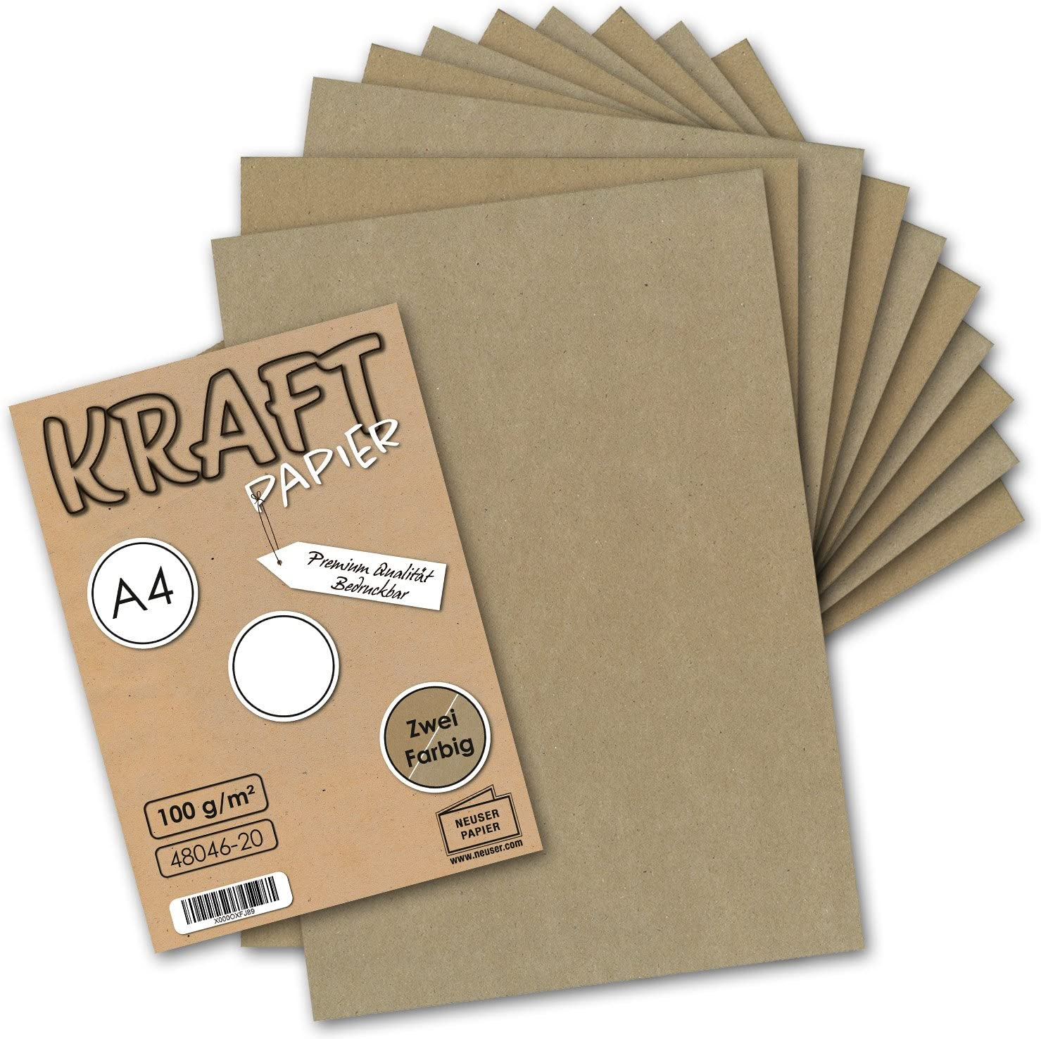 100/% /ökologisch Brief-Bogen Kunst /& K/ünstler-Papier 50x Vintage Kraftpapier DIN A4 100 g//m/² 2-farbig natur-braunes//graues Recycling-Papier
