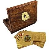 Artigianale box supporto di carta da gioco in legno - 2 mazzi di dollari in oro placcato carte da gioco - 3,81 x 16 x 11,94 cm