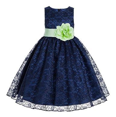 52f9f9750 ekidsbridal Navy Blue Floral Lace Overlay Junior Flower Girl Dress  Christening Dress 163S 12