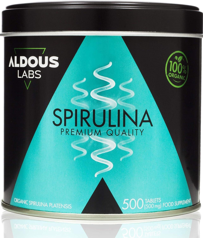 Espirulina Ecológica Premium para 9 Meses - 500 comprimidos de 500mg con 99% BIO Spirulina - Vegano, Saciante, DETOX - Libre de Plástico - Certificación Ecológica Oficial