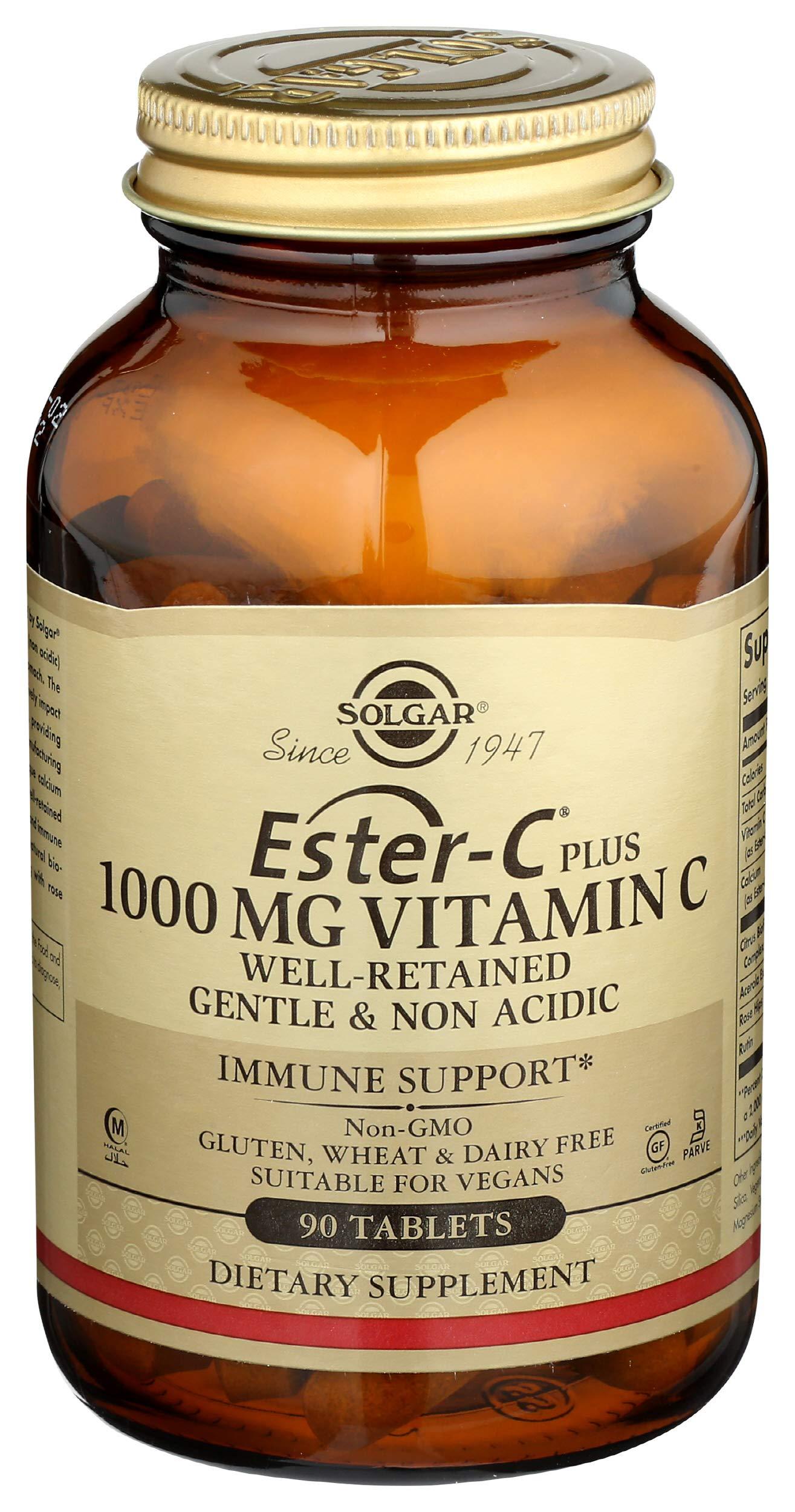 Solgar Ester-C Plus 1000 mg Vitamin C (Ascorbate Complex), 90 Tablets - Gentle On The Stomach & Non Acidic - Antioxidant & Immune System Support - Non GMO, Vegan, Gluten Free, Kosher - 90 Servings