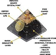 Orgone Pyramid - Reiki Healing Emf Protection Energy Generator - Black Tourmaline Crystal Orgonite Pyramid for Chakra Balanc