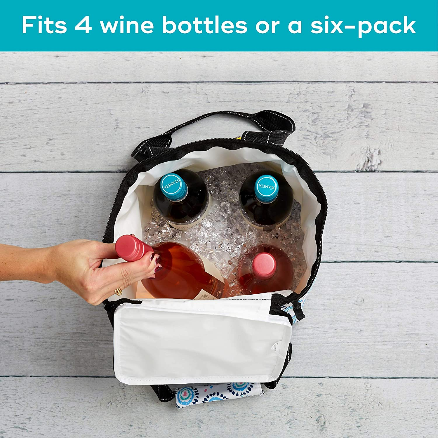 PVC-Free Liner SCOUT Pleasure Chest Insulated Soft Cooler Heat-Sealed Nantucket Navy Zips Closed Fits a 6 Pack or 4 Bottles of Wine Water Resistant 55205
