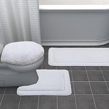 Lifewit Badematte Set Toiletten Teppich 3 Teilige Badezimmer Teppich  Rutschfest Badvorleger WC Vorleger Toilettensitzabdeckung Weiß