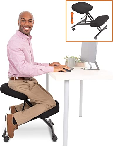 ProErgo Pneumatic Ergonomic Kneeling Chair New Improved Fully Adjustable Mobile Office Seating Improve Posture to Relieve Neck Back Pain Easy Assembly Use