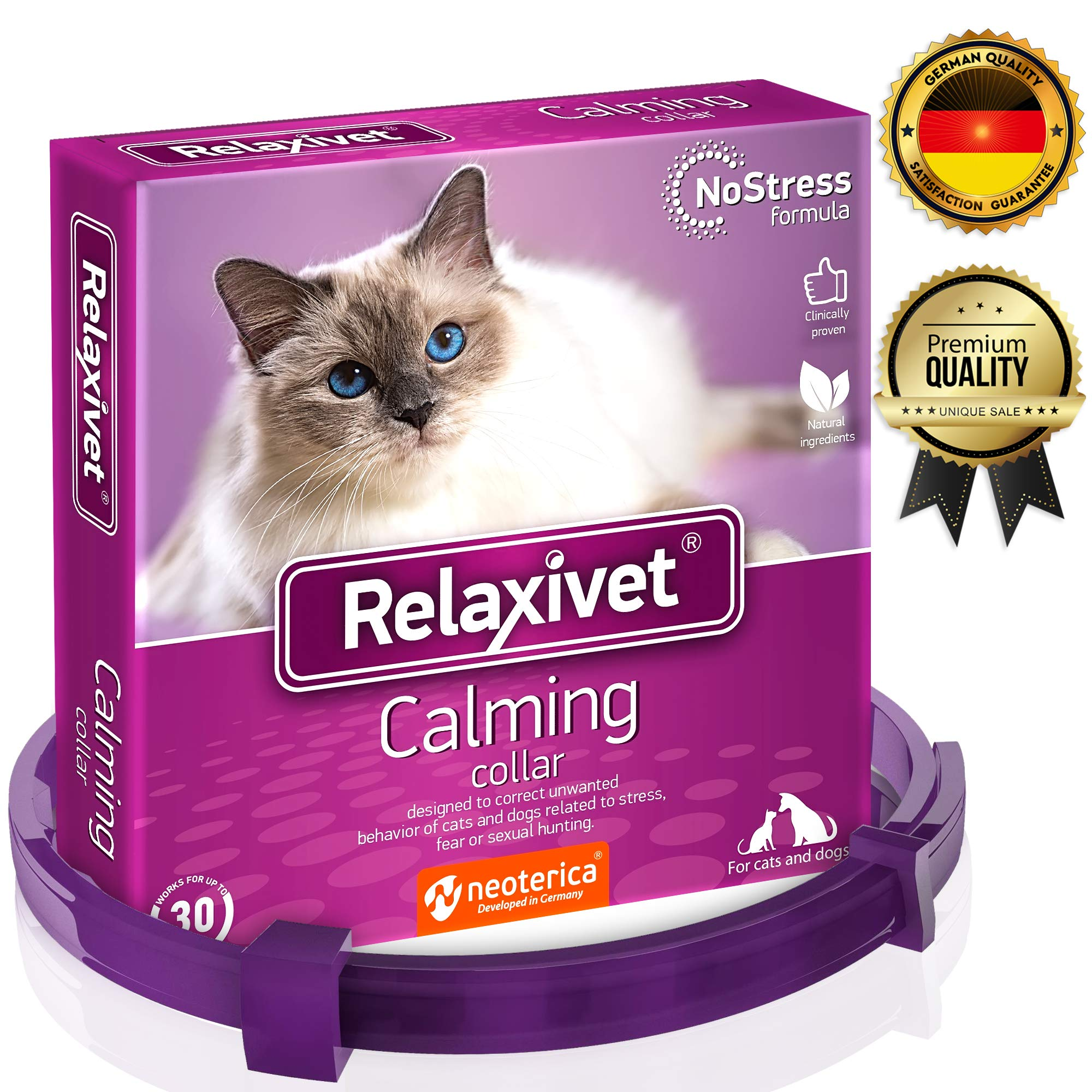 Relaxivet Calming Collar For Cats and Small Dogs - Reduce Anxiety Your Pets - The Best Replacement for Calming Chews Treats Drops Plug In by Relaxivet