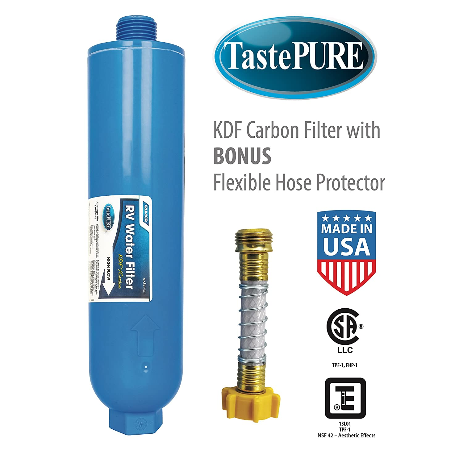 Amazon.com: Camco TastePURE Water Filter with Flexible Hose ...