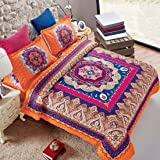 Mandala Duvet Cover Set, Orange Bohemian Boho chic Medallion Printed Soft Microfiber Bedding, with Zipper Closure (3pcs, Queen Size)